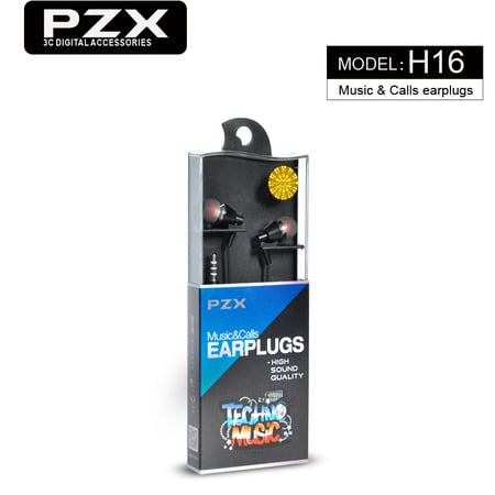Earphones PZX-H16 H01 Silicon BLACK/WHITE