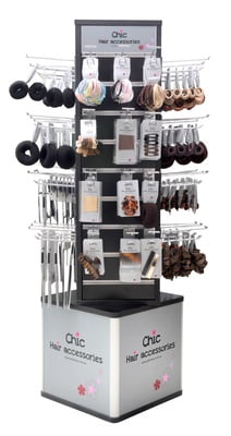 Display Stand Hair Accessories 4-Sides (Incl. 50 hooks 15cm L, 6mm diameter)