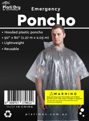 Poncho with buttons PlatiDry