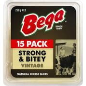 Bega Vintage Cheese Slices 15 pack 250g 180651 (12 a box)