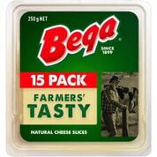 Bega Tasty Natural Cheese Slices 15 pack 250g 180648 (12 a box)